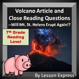 Volcano Article and Close Reading Questions -- Will Mt. St. Helens Erupt Again?
