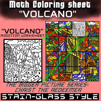 Math Colouring Worksheet (Addition) -Volcano
