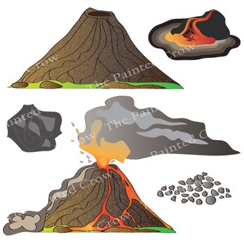 Volcano Clip Art Earth Science Set. 32 Illustrations (Color & Blackline)