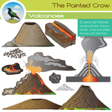 Volcano Clip Art Earth Science Set. 32 Illustrations (Colo