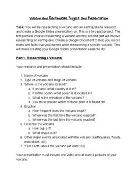 Volcano/Earthquake/Tsunami Research Project