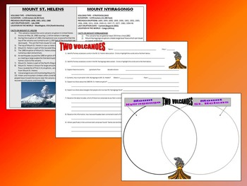 Volcano Homework (Data Sheet, Question Sheet, Venn Diagram)