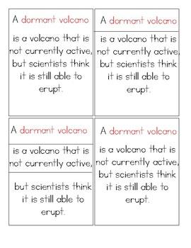 Volcano Montessori Definition Cards
