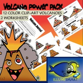 Volcano Power Pack: 12 Piece Color Clip Art & 2 Worksheets