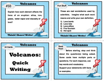 Volcano Unit Review - Task Cards for Writing and Discussions