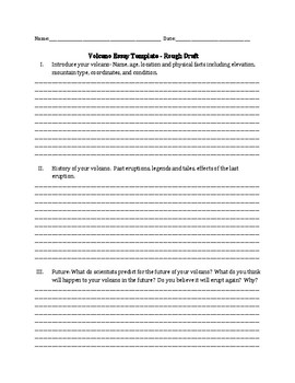 Volcano Research Essay Template