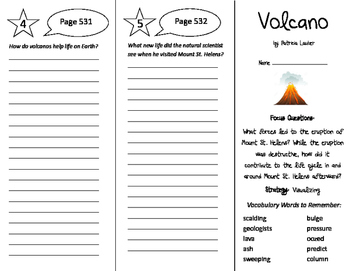 Volcano Trifold - Imagine It 6th Grade Unit 5 Week 2
