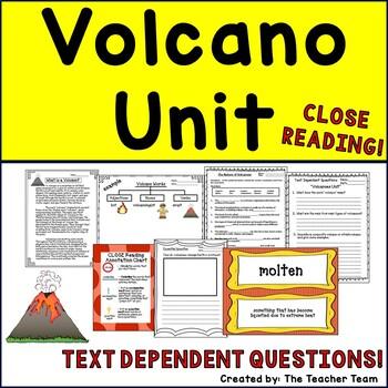 Volcanoes Unit ~ Close Reading ~ Text Dependent Questions