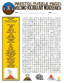 Volcano Vocabulary Puzzle Page (Wordsearch and Criss-Cross)
