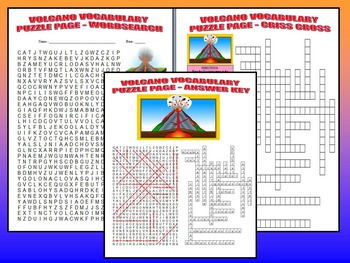 Volcano Vocabulary Quiz (Study Guide and Puzzle Page)