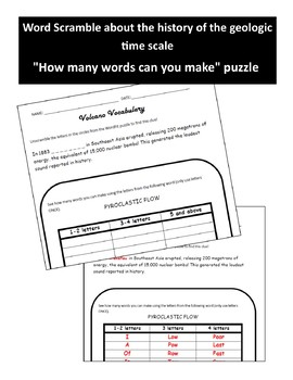 Volcano Vocabulary Review WordFit Puzzle - Earth Science