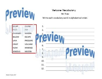 Volcano Vocabulary Word Search, ABC Order, Parts of Speech
