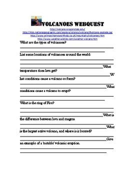 Volcano Webquest