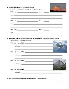 Volcano Webquest (Internet)
