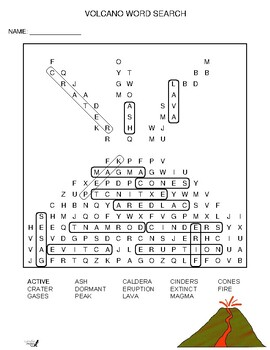 Volcano word search by salamander ed teachers pay teachers volcano word search ccuart Image collections