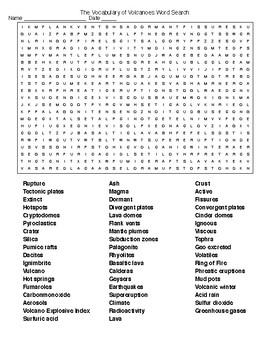 Volcano Word Searches and Crossword Puzzle with Keys