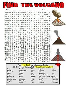 Volcano Wordsearch