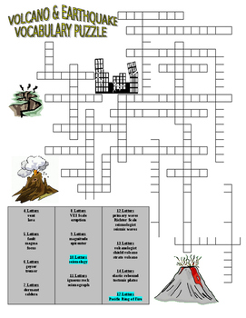 Volcano and Earthquake Vocabulary Puzzle