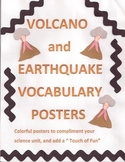 Volcano and earthquake vocabulary posters
