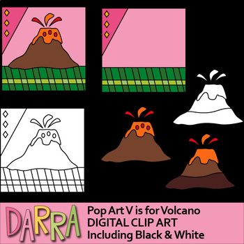 Volcano clip art - Alphabet letter V clipart for math and literacy activities