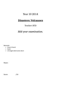 Volcano exam AusVELS Level 10 Geography