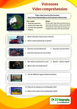 Volcano worksheets, complete with answers