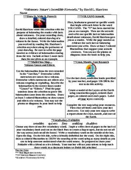 Volcanoes Activity Menu and Differentiated Reading Plans