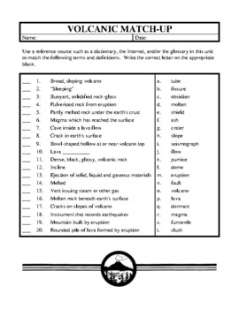 Volcanoes, An Introductory Unit of Study Activities and Worksheets
