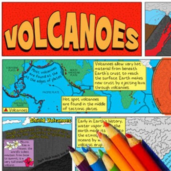 Volcanoes Coloring Page and Crossword Puzzle