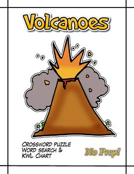 Volcanoes - Crossword puzzle, word search & KWL chart