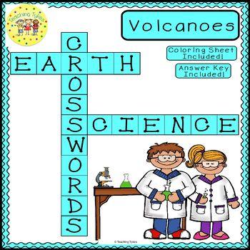 Volcanoes Earth Science Crossword Coloring Puzzle Worksheet Middle School