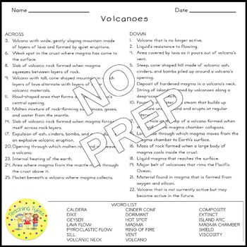 Volcanoes Crossword Puzzle