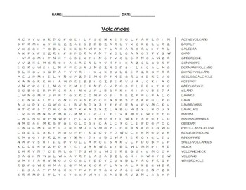 Volcanoes Earth Science Word Search