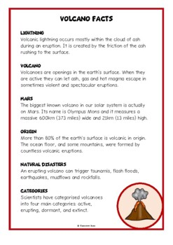 Volcanoes Fact Cards
