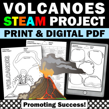 Volcanoes STEM Project Based Science Distance Learning Packet Research Project
