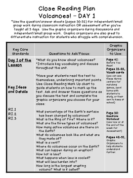 Volcanoes NO PREP Close Reading Plans/Assessment 3rd-6th Grade