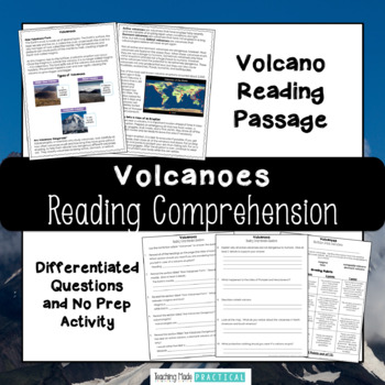 Volcanoes Reading Comprehension With Differentiated Questions Tpt
