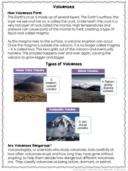 Volcanoes Reading Comprehension with Differentiated ...