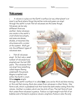 Volcanoes Reading and Activity
