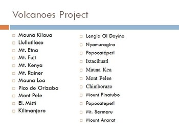Volcanoes Research Project