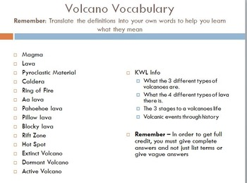 Volcanoes - Research Project