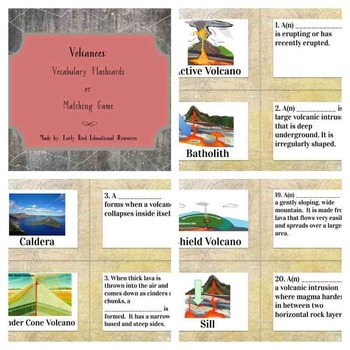 Volcanoes Review: Flashcards, Vocabulary Cards, or Matching Game