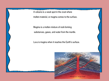 Volcanoes - S6E5 f includes Power Point, teacher and student notes and a quiz