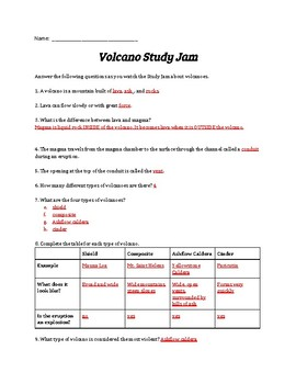 Volcanoes Study Jams Worksheet