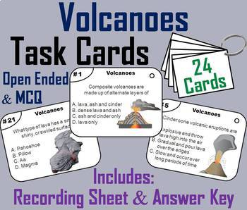 Volcanoes Task Cards, PowerPoint and Activities Bundle