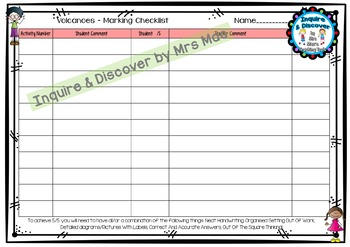 VOLCANOES RUBRIC - 24 Questions & Answers, Marking Checklist, Success Criteria