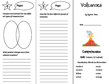 Volcanoes Trifold - California Treasures 6th Grade Unit 5 Week 1