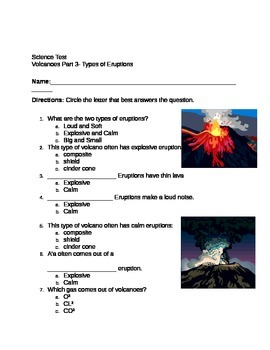 Volcanoes Unit Handouts, Tests and Apple Dissection Activity