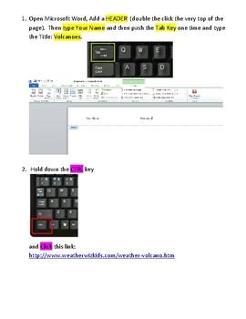 Volcanoes Using Microsoft Word - Technology Lesson