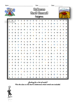 Volcanoes Word Search Enigma